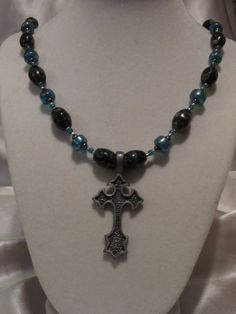Pewter cross necklace by across2share on Etsy, $38.00