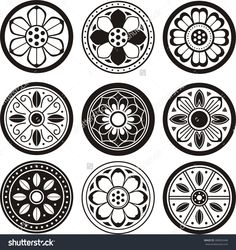 Korean Traditional Symbol Vector Image, Korean Tradition Flower Pattern, Convex Tiles - 306952448 : Shutterstock