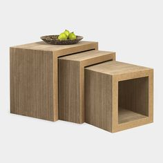 MoMA || Low Table Set, Frank Gehry, 1972 | Made by Vitra of corrugated cardboard with hardboard edges