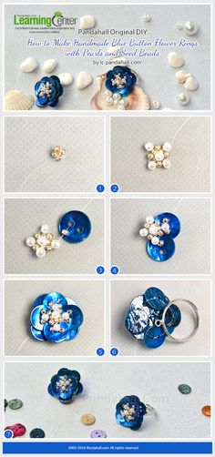 Pandahall Original DIY- How to Make Handmade Blue Button Flower Rings with Pearls and Seed Beads from LC.Pandahall.com