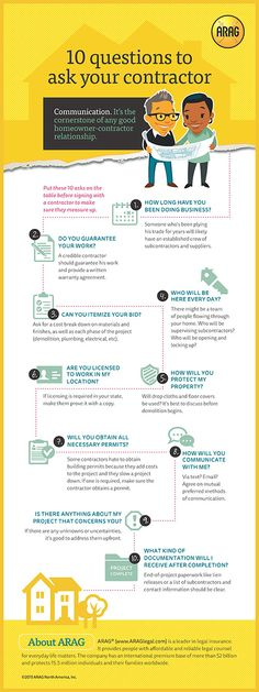 10 Questions to Ask Your Contractor (Infographic) Putting your home in someone else's hands takes a lot of trust. Find the right contractor for the job with these 10 essential questions. Diy Videos, Home Renovation, Home Remodeling, Remodeling Contractors, Building Contractors, Bathroom Remodeling, Michigan, Thing 1, Real Estate Tips