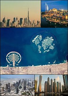 Clockwise from the top: skyline with Burj Khalifa; Burj Al Arab; satellite image showing Palm Jumeirah and The World Islands; Sheik Zayed Road; and the Dubai Marina.