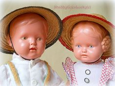 Schildkröt doll couple boy & girl, 1952 made in Germany, two old celluloid turtle mark dolls 13 inch, Schildkröt Christel as boy + Bärbel by ShabbyGoesLucky on Etsy https://www.etsy.com/listing/246693619/schildkrot-doll-couple-boy-girl-1952