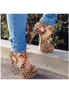 Amazing Leopard Grain Suede Cut-Outs Platform Sandals , Grain Animal Print High Heels, Happy Legs, Black Dress Sandals, Leopard Heels, Cheetah, Cute Heels, Sexy Heels, Leopard Fashion, Leather Sandals Flat