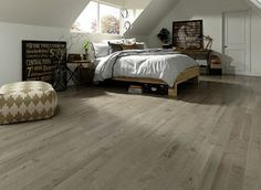 Kick back & relax - Pebble Island Birch brings the relaxing gray and white tones to any space. Wide Plank Flooring, Engineered Hardwood Flooring, Living Room Flooring, Bedroom Flooring, Prefinished Hardwood, Installing Hardwood Floors, Real Wood Floors, Modern Bedroom Design, Bedroom Designs
