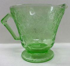 Hazel Atlas Green Florentine Poppy #2 Creamer Pattern Depression Glass