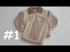 V Yaka Erkek Çocuk Süveteri #1 (Ön ve Kol Yapımı) - YouTube