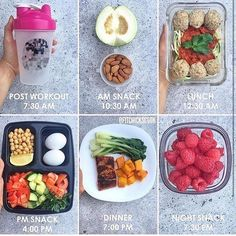 Prepped by @fitchickscook . Details: [Post Workout] 7:30 am - protein shake. [AM Snack] 10:30 am - half a guava and raw almonds. [Lunch] 12:30 pm - Zoodles with marinara sauce and turkey meatballs. [PM Snack] 4:00 pm - Chickpeas salad with 2 boiled eggs. [Dinner] 7:00 pm - Pan seared salmon, steamed greens and baked butternut squash. [Night Snack] 7:30 pm - One cup of raspberries.