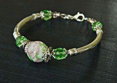 Artisan lampwork bracelet Handmade Flower focal lampwork bead Modern Boho bracelet, Bohemian wedding bracelet Flower glass bead bracelet