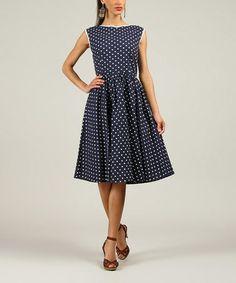 Navy Polka Dot A-Line Dress - Women & Plus #zulily #zulilyfinds
