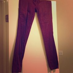 Burgundy skinny pants Tag Says 7 fit like size 4 or 5. Slight shimmer in material. Very soft material. Pants Skinny