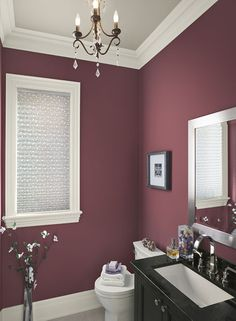 Red Bathroom Ideas - Poised, Plum-Red Bathroom - Paint Color Schemes #GotItFree....love this color