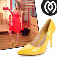 "Antonia Kallimoukou on ""Eleni"" wearing MIGATO SS2014 collection yellow patent pumps, product code ES21."
