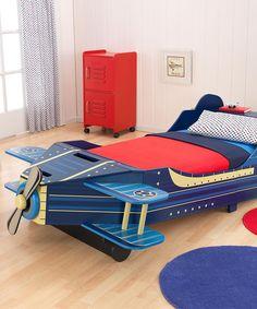 Blue Airplane Toddler Bed #zulilyfinds