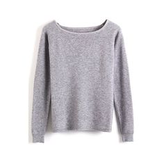 Boat Neck Long Sleeve Plain Pullover Sweater (32 BAM) via Polyvore featuring tops, sweaters, long sleeve tops, bateau neck top, boat neck tops, pullover sweater i boatneck sweater