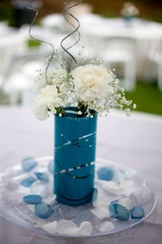 DUSTY TEAL WEDDING THEMES | Ivory, Gray, teal wedding. Simple centerpiece. Carnations and baby's ...