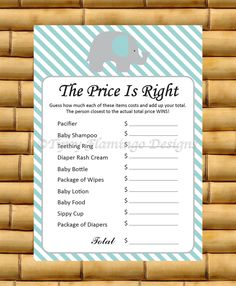Baby Shower Game, The Price is Right, Shower Game Card, Elephant, Price is Right, Light Teal and White, Printable, Instant Download - TFD268 by TipsyFlamingoDesigns on Etsy