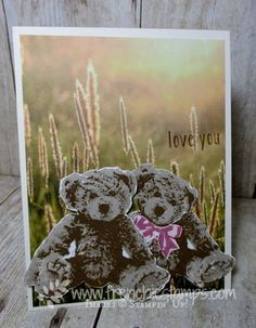 Stamp & Scrap with Frenchie: Sneak Peak of Live stamping, Baby Bear, serene scenery designer paper