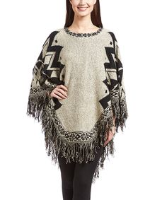 Look at this #zulilyfind! Cents of Style Beige & Black Geo Fringe Poncho by Cents of Style #zulilyfinds