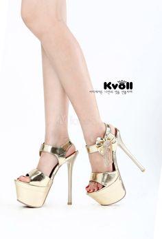 Gold PU Leather Glitter Chain Bow Fringed Stiletto Heel Women's Dress Sandals - $27.19