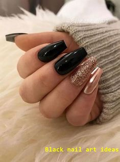 47 eye-catching chrome nail art designs for 2020 page 15 Black Nail Tips, Black Nails With Glitter, Black Acrylic Nails, Black Coffin Nails, Black Nail Art, Gold Nails, Matte Black, Black Gold, Mint Gold