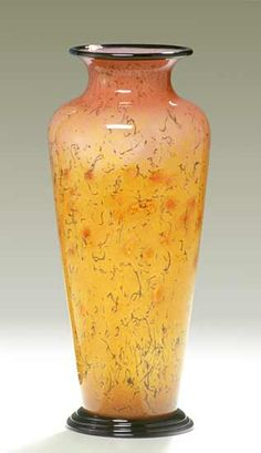 """Gold Powder Vase (Pinched Lip)""  Art Glass Vase  Created by Curt Brock"