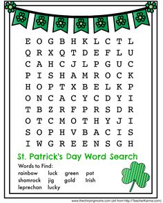 Printable Coloring Pages For Kids Print St Patricks Day Word Search Spring Word Search, Easy Word Search, St Patricks Day Pictures, St Patricks Day Crafts For Kids, Printable Coloring Pages, Coloring Pages For Kids, Printable Crossword Puzzles, Printable Worksheets, St Patrick's Day Words