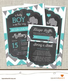 Elephant Baby Shower Invitation, Teal Elephant Baby Shower Invitation, Elephant, Teal, Gray, Chevron, Flags | Printable
