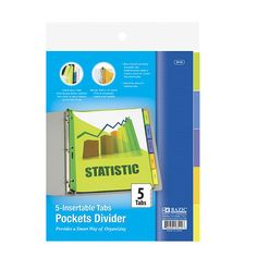 3-Ring Binder Pockets Dividers with 5-Insertable Color Tabs - Case of 24 - Hollar   So. Much. Good. Stuff