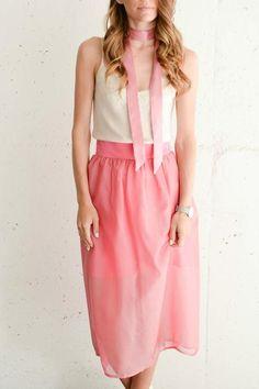 Pink silk midi skirt by www.shopsutie.com.