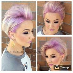 Pink,  blonde,  streaks. Short hair. Pastel.  Trend