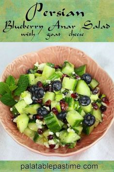 Crisp and cool cucumber salad with fresh blueberries, pomegranate arils, goat cheese crumbles and a Persian style salad dressing. Blueberry Drinks, Blueberry Salad, Blueberry Lemonade, Persian Salad, Persian Cucumber, Halloumi Salad, Grilled Halloumi, Cucumber Recipes, Cucumber Salad