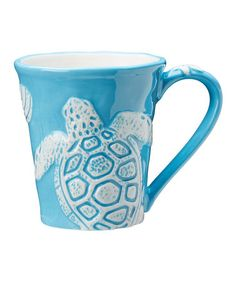 Look what I found on #zulily! Bright Aqua Coastal Mug - Set of Four #zulilyfinds