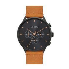 Ανδρικό ρολόι LE DOM LD.1436-9 Principal με ανθρακί καντράν, διπλή ώρα, 24ωρη ένδειξη και καφέ ταμπά λουρί | Ανδρικά ρολόγια Le Dom ΤΣΑΛΔΑΡΗΣ στο Χαλάνδρι #LeDom #Principal #ρολοι #tsaldaris Smart Watch, Watches, Leather, Accessories, Smartwatch, Clocks, Clock, Ornament