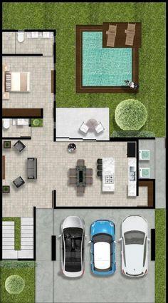 Modern House Floor Plans, Pool House Plans, Best House Plans, Small Villa, Modern Small House Design, House Construction Plan, Plan Design, Black House, Home Deco