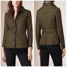NWT Burberry Brit Ashurst Diamond Quilted Jacket % Authentic NWT Burberry Ashurst Diamond Quilted Jacket in Olive Green. Size XS. Brand new and in perfect condition! Comes with original tag attached as shown in last 2 pictures. No trades, no PayPal or other sites, but I do 10% discounts on bundles of 3+ items! Burberry never goes on sale! Check my Ⓜ️ for lower pricing! Burberry Jackets & Coats