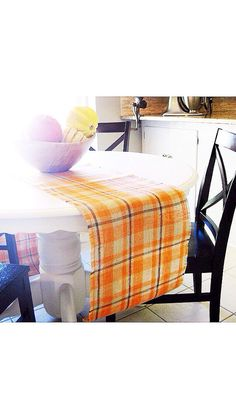 """LOVE, burlap ♥ Gorgeous Thanksgiving orange plaid burlap table runner. Table runner has homestyle and finished edges. It is sewn along sides to ensure durability and longevity. Hand wash or gentle cycle.  14"""" wide X 8' long, other sizes available! Monogram Option is $8 extra. Also a perfect gift for the OSU fan! ♥ https://www.etsy.com/shop/loveburlap"""