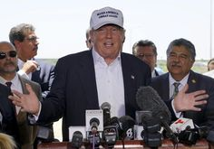Republican presidential candidate Donald Trump gestures during a news conference near the U.-Mexico border (background), outside of Laredo, Texas July At right is Pete Saenz, mayor of Laredo. Donald Trump, John Trump, Latina, Current President, Visit Mexico, Presidential Candidates, Us Presidents, Flirting, Laredo Texas