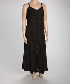Look what I found on #zulily! Black Button-Up Maxi Dress - Plus #zulilyfinds