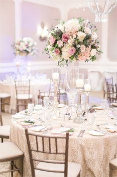 Pretty In Pink Romantic Garden-Inspired Fall Wedding Tall Wedding Centerpieces, Wedding Flower Arrangements, Table Arrangements, Flower Centerpieces, Wedding Decorations, Table Centerpieces, Beach Wedding Flowers, Wedding Colors, Wedding Table