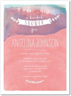 Wish Wash - Signature White Bridal Shower Invitations - Smudge Ink - Posies - Pink : Front