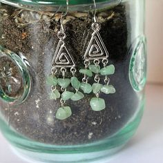 Semi-precious Stone Green Agate Triangular Chandelier Earrings
