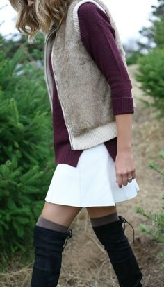 christmas tree cutting down outfit {festive outfit, faux fur vest, burgundy sweater, over the knee boots}