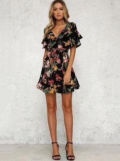 Floral Printed Falbala Belted Mini Dress c2ae4c6bbcaf
