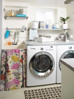 Keep the items you usually use close at hand, maybe on a shelf above the washing machine
