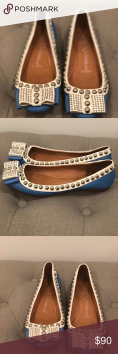 """Jeffrey Campbell very rare """"Dauphine"""" flats Jeffrey Campbell very rare """"Dauphine"""" flats Size 7.5 Genuine leather From Nordstrom, in original box.  Blue with white trim and silver stud detail.  Looks amazing with jeans The Daupine style is very rare and I had not seen this color Combination anywhere else.  I bought these and wore them one time out to dinner. I loved them so much that I was sparing them for special occasions but gained weight and they never fit my feet again Jeffrey Campbell…"""