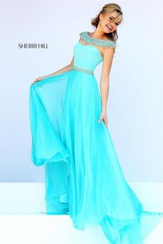 2015 Sherri Hill 32220 Beaded High Neck Long Prom Dress
