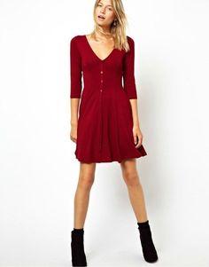 Wine Red V Neck Long Sleeve Buttons Pleated Dress - Sheinside.com