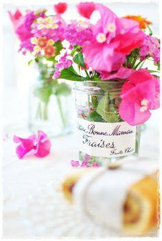Summer flowers in a Bonne Maman jar ~ perfect