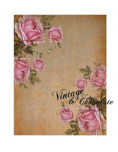 Digital Paper Digital Rose Scrapbook Paper by VintageLeChocolate